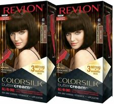 (2 Pack) Revlon ColorSilk Buttercream Permanent Hair Color 40 / 30N DARK BROWN