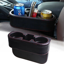 Leather Car Seat Seam Dual Cup Drink Bottle Storage Organizer Holder Mount Stand