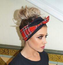 Red Tartan Print Black Rockabilly wide Reversible Wired Headband Headwrap