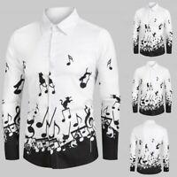 Mens Vintage Music Note Printed Lapel Shirts Long Sleeve Slim Shirt Blouse Tops
