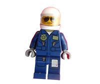 LEGO POLICIER hubschrauberpilot bleu foncé avec Casque Mini Figurine CITY