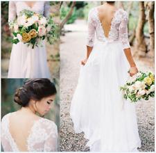 Simple Elegant Beach Wedding Dress with Lace Western Country Wedding Dress