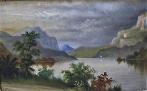 19th century oil mountain/lake scene large framed