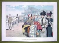 "OSTENDE SPAS Eastern Fabric Seller Ladies  - VICTORIAN Era Print 14"" x 21"" COLOR"