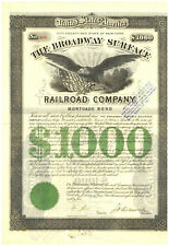 Broadway Surface Railroad Company. Bond Certificate. New York