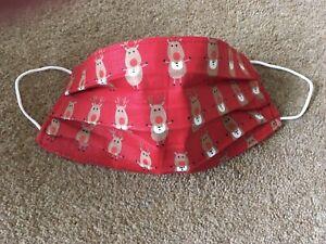 Handmade Christmas Red Reindeer washable reusable cotton face mask