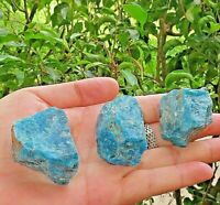 3 Pieces  Natural Rough Blue Apatite Gemstone Crystal Quartz Specimen Reiki