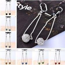 Womens Crystal Rhinestone Resin Round Ball Chain Dangle Long Hook Earrings Gift