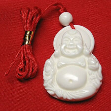 Delicately Carved Deep Sea Tridacna Happy Buddha Amulet Pendant -w string cord
