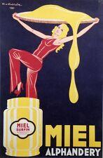 """""""MIEL ALPHANDERY"""" Affiche originale entoilée Litho G. GORDE1932  84x123cm"""