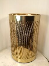 Vintage FRONTGATE Brass Italian Perforated Trash Waste Basket Can Italy Modern