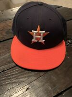 Houston Astros MLB Fitted Baseball Hat- 7 1/8-Official On Field Hat