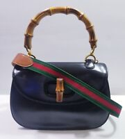 GUCCI Classic Frame Bamboo Top Handle Leather Flap Convertible Bag