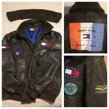 RARE TOMMY HILFIGER Leather A2 G1  Freedom Flag Aviator Bomber Jacket Sz L