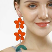 Fashion Women Long Flower Acrylic Earrings Drop Dangle Hook Ear Stud Jewelry NEW