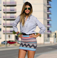 ZARA Aztec Neon Print Stretch Mini Skirt Bloggers Fav Size M