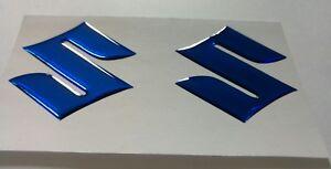 Suzuki Gel domed 3d badge x2 BLUE MIRRORED CHROME***PAIR