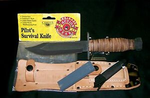 """Camillus Pilots Knife """"SFO"""" Post Contract 1989 W/Packaging & Care Instructions"""