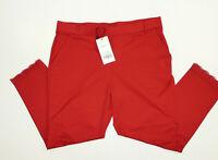 Zauberhose Stretch Schlupfhose Capri Leggings Spitze Hose Taschen Rot Gr 44-46
