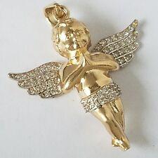 14k Yellow Gold man made diamond praying baby angel Pendant charm 1.20 inch long