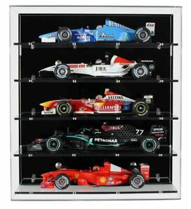 Acrylic Wall Display Case for Five Large Modern 1:18 Scale Model F1 Cars