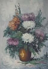 Still Life with Summer Flowers Chrysanthemums Oil Painting F/J Szekely c1970s