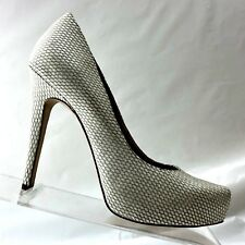 BCBGeneration Womens Shoes Parade White Leather High Heels Stiletto Pumps 7.5M