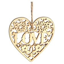10pcs Laser Cut Love Heart Wooden Embellishment Craft Hanging Ornament S8H9