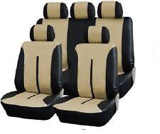 Leder Kunstleder Sitzbezug Sitzbezüge Schonbezug  SCHWARZ-BEIGE 3 Audi A4 B6