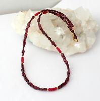 Granat mit Rubin kette edelsteinkette facettierte Rot Schmuck 925 Silber collier