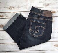 Womens Silver Jeans Mid Rise Suki Dark Denim Cropped Capri Stretch Jean 30