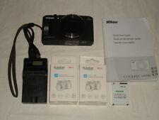 Nikon Coolpix S9700 16.MP W/WiFi Black Compact Digital Camera w/3 New Batteries