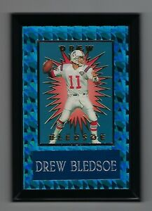 "Vintage 1994 6.5"" x 4.5"" Card Plaque Drew Bledsoe Patriots Old Logo #1"