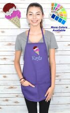 Personalized Kids Apron with Ice Cream Embroidery Design