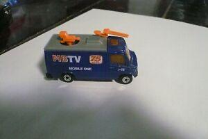 "1989 Matchbox TV News Truck Van 3"" 1:73 Mobile One Blue Mercedes Macau clean"