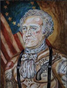 LEX outsider Neo pop SuRReal Print Tattooed Alexander Hamilton Treasury painting
