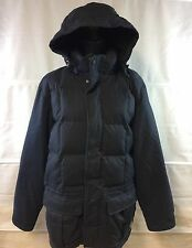 EDDIE BAUER EB Weatheredge Navy Blue Hooded Down Parka Winter Coat Men's L Tall
