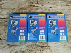 """3x NEW Rex Office Glossy PhotoPaper 4"""" x 6"""" 10 x 15 cm 150 Sheets In Total"""