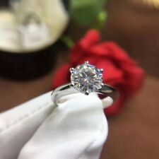 2.00 Ct Round Cut Forever Moissanite Engagement Ring in 14K White Gold Plated