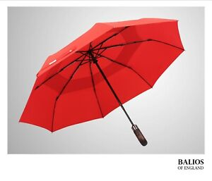 Balios Vibrant RED Umbrella Real Wood Double Canopy Auto Open&Close Windproof
