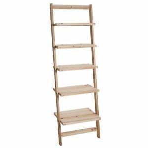 Five Tier Ladder Style Wooden Storage Shelf Natural Finish