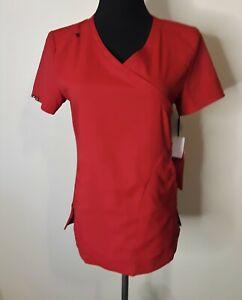 "Koi Lite Women's ""Philosophy"" 316 Mock Wrap Side Zipper Scrub Top Ruby Red NWT"