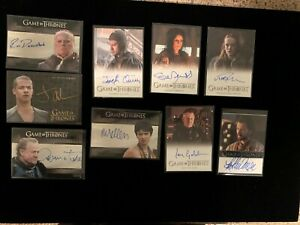 Game of Thrones Limited Edition Autograph Cards - LOT of 9, mint to near mint