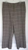 TALBOTS Stretch Gray Brown Plaid Career Wool Blend Work Pants Size 10P Petite
