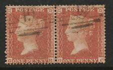 1855 Penny Red (Pair)  Spec C4 Plate 1 (GB-GC) Perf 16 Small Crown Fine Used
