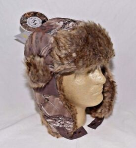 Realtree Xtra Como Trapper Bomber Cap Warm Camouflage Hat Faux Fur Med L or XL