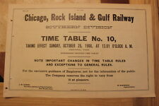 CHICAGO, ROCK ISLAND AND GULF SOUTHERN DIVISION #10 OCTOBER 25,1908-SUPER RARE
