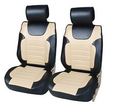 2 Luxurious Leather Protective Covers Compatible to Infiniti 6802 Bk/Tan
