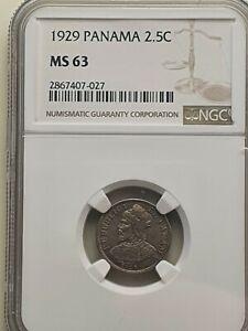 1929 Panama 2 1/2 Centesimos coin NGC Rated MS 63