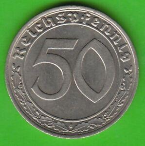 50 Reichspfennig 1939 F Nickel Nice Rarely nswleipzig